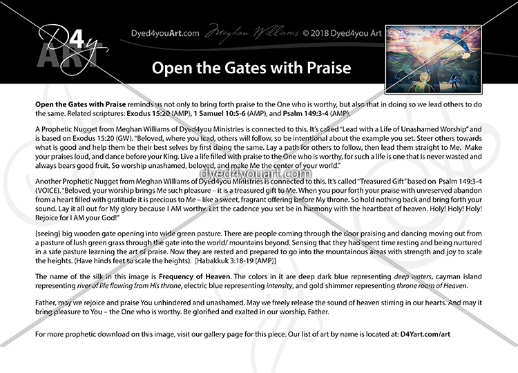 Open the Gates with Praise – Dyed4you Art